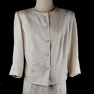 Leslie Fay Blazer Skirt Suit Sz 16 WP Textured